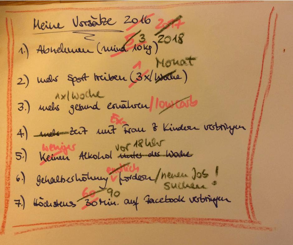 Vorsätze von 2016-2018